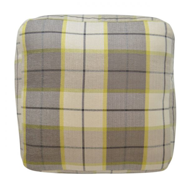 (PF-101) Spectrum Pouf | Fabric: (2581-C) Penn-Plaid - Citrus