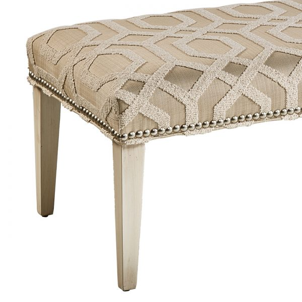 (U-201) Jordan Bench | Fabric: (2901-N) Tao - Natural | Finish: Wood – Travertine | Nails: Houston