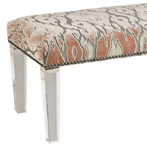 (U-202) Annabelle Bench | Fabric: (2427-R) Maldives - Rose Quartz | Legs: Acrylic | Nails: Midland