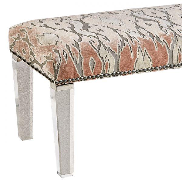 (U-202) Annabelle Bench | Fabric: (2427-R) Maldives - Rose Quartz | Legs: Acrylic | Nails: Midland