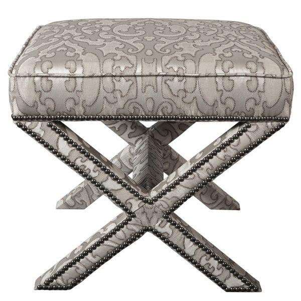(U-203) Jaffa Ottoman | Fabric: (3148-I) Bokhara-Ivory | Nails: Tyler