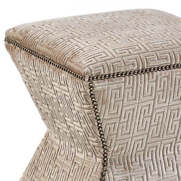 (U-204) Arax Ottoman | Fabric: (3001-S) Razzle Dazzle - Silver | Nails: McKinney