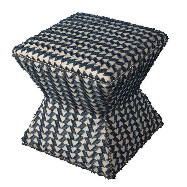 (U-204) Arax Ottoman   Fabric: (3049-I) Fringe Benefits - Indigo   Nails: Houston
