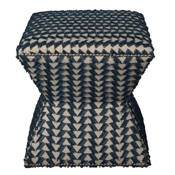 (U-204) Arax Ottoman | Fabric: (3049-I) Fringe Benefits - Indigo | Nails: Houston