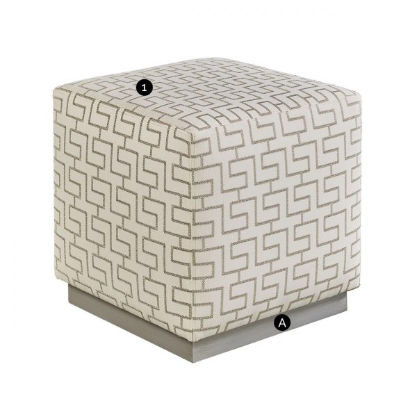 (U-205) Draco Ottoman | Fabric: (2797) Seam Allowance | Finish: Wood - Platinum