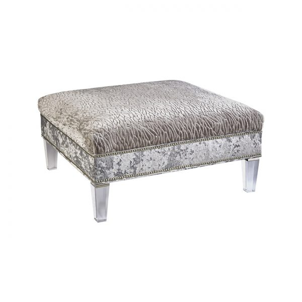 (U-207) Nessa Ottoman-Table | Top: (3053-G) Callard - Grey | Side: (2867-S) Miranda - Silver | Legs: Acrylic | Nails: Houston