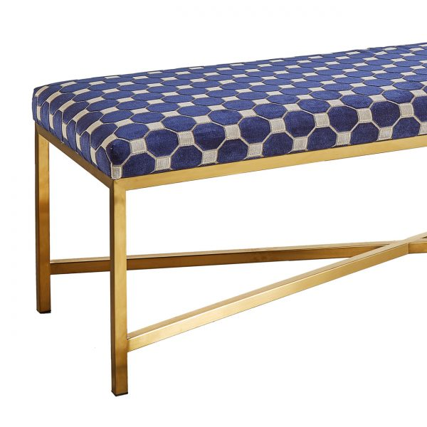 (U-208) Gabriel Bench | Fabric: (3051-A) Palermo - Admiral | Finish: Metal - Matte Gold