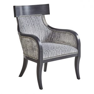 (U-209) Solomon Chair | Inside: (2965-G) Wake - Glacier | Outside: (2825-S) Rebel - Storm | Finish: Wood - Heron | Nails: Tyler