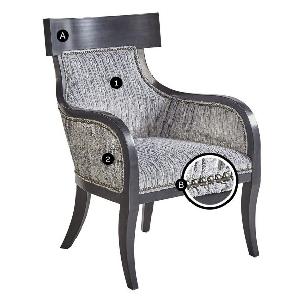 (U-209) Solomon Chair | Inside: (2965-G) Wake - Glacier | Outside: (2825-S) Rebel - Storm | Finish: Wood - Heron | Nails: Tyler