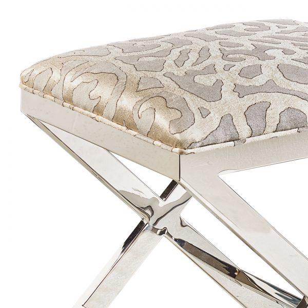 (U-211) Jericho Ottoman | Fabric: (2710-S) Basileus - Silver | Finish: Metal - Gloss Silver
