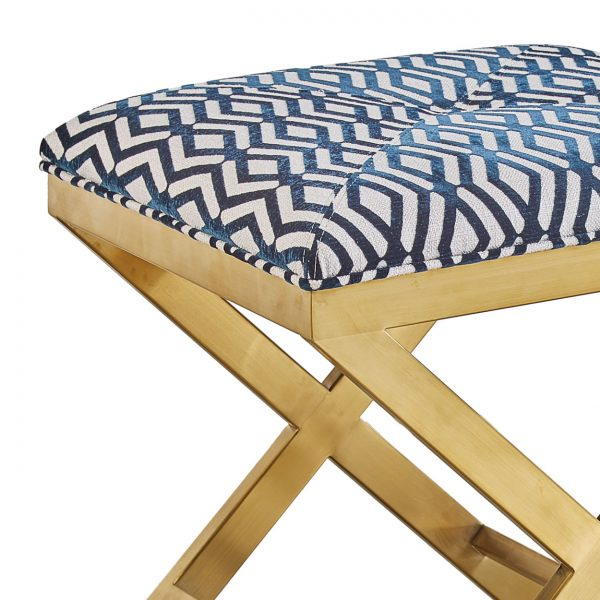 (U-211) Jericho Ottoman | Fabric: (2668-N) Fulcrum - Navy | Finish: Metal - Matte Gold