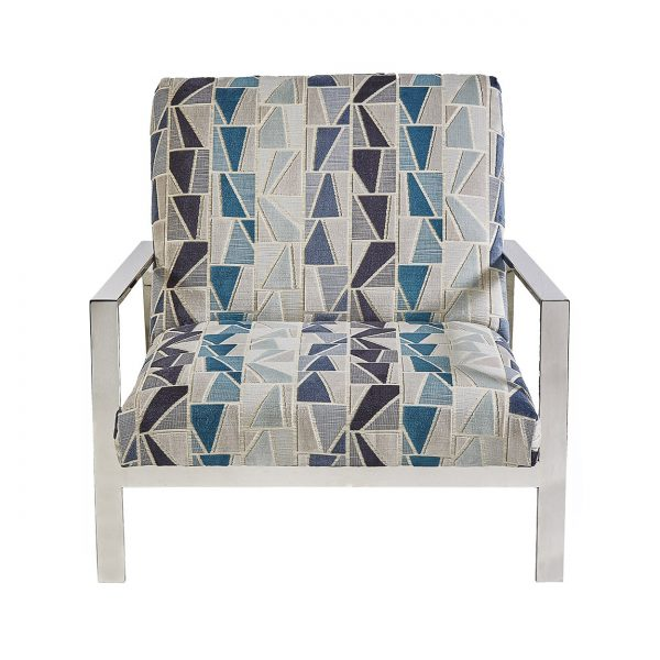 (U-216) Daniel Chair   Fabric: (3006) Zander   Finish: Metal – Gloss Silver