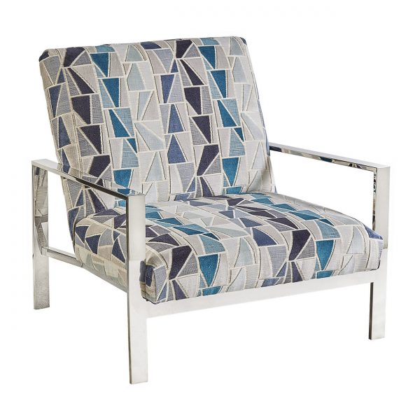 (U-216) Daniel Chair | Fabric: (3006) Zander | Finish: Metal – Gloss Silver