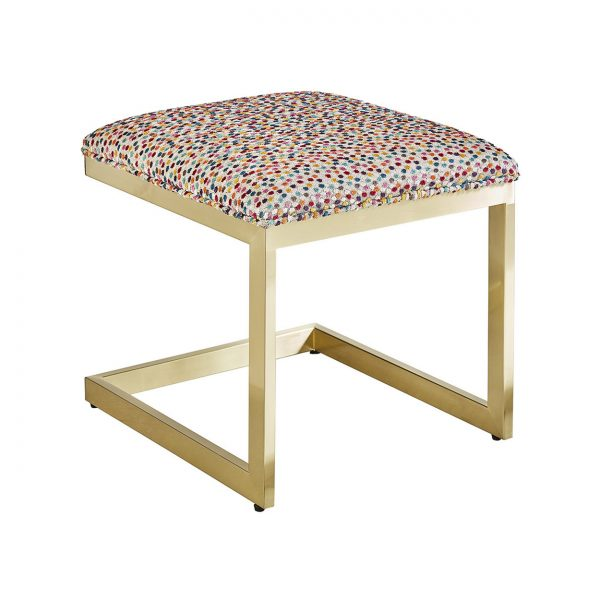 (U-218) Alpha Ottoman-Table | Fabric: (3108) Bacchus | Finish: Metal - Matte Gold