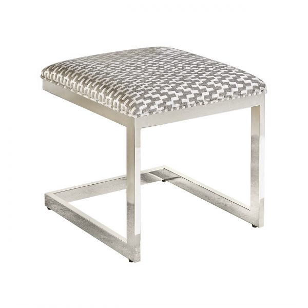 (U-218) Alpha Ottoman-Table | Fabric: (2920-P) Giza - Platinum | Finish: Metal - Silver Gloss