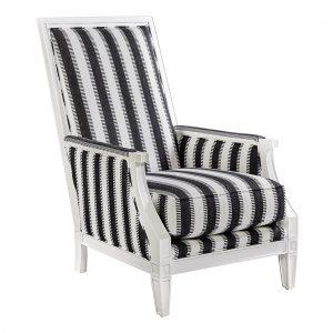 (U-219) Victor Chair | Fabric: (3016-B) Ladder - Black | Finish: Wood - Porcelain