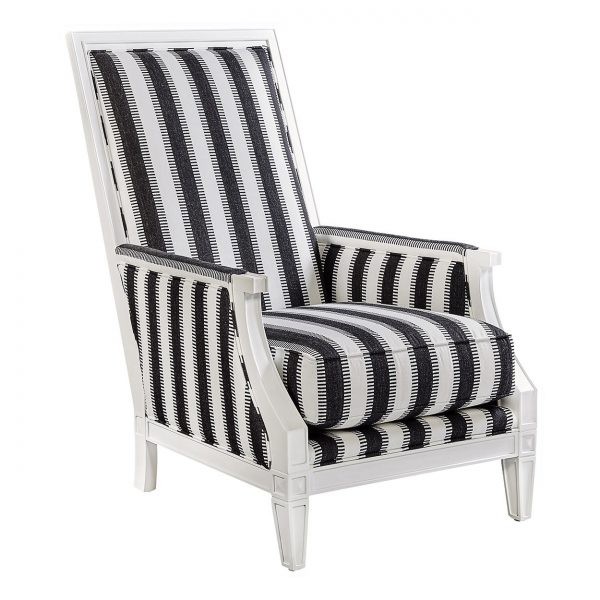 (U-219) Victor Chair | Fabric: (3016-B) Ladder - Black | Finish: Wood - Porcelain