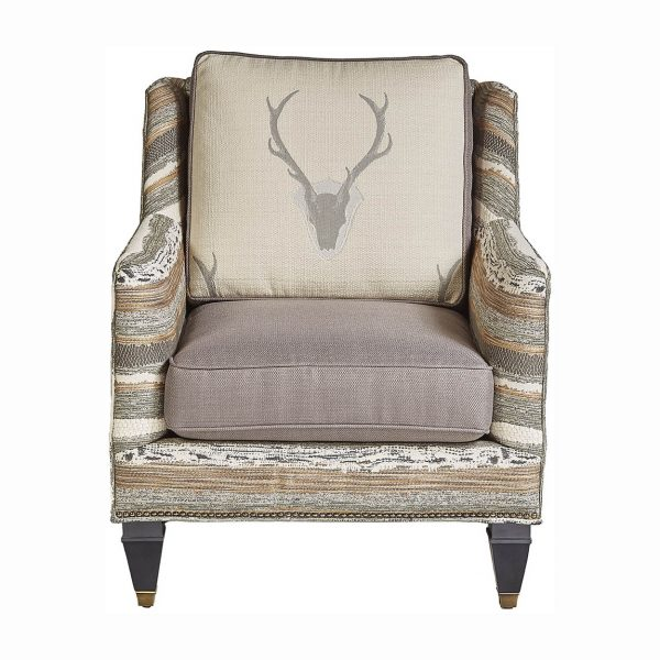 (U-222) Asher Chair | Body: (3013-S) Chindi - Smoke | Back Cushion: (2155-I) Uncle Buck - Ivory | Seat Cushion: Casandra - Silver | Finish: Wood - Heron | Nails: Tyler