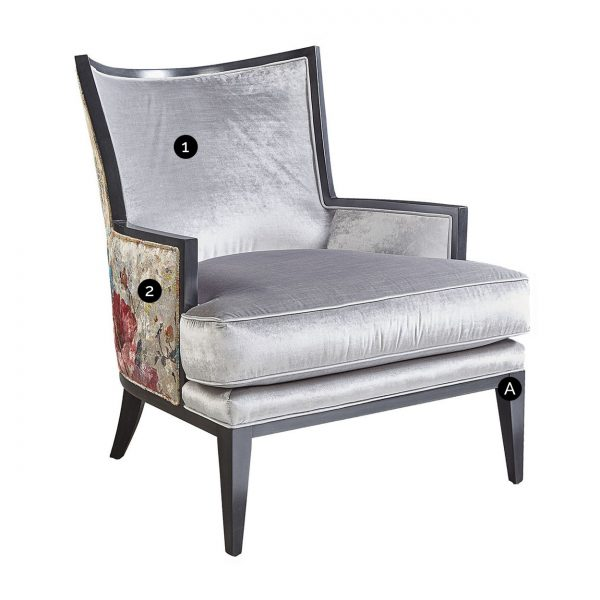 (U-224) Elizabeth Chair | Inside: Velutto - Sterling | Outside: (2997-RG) Dazzling - Rose Gold | Finish: Wood - Heron