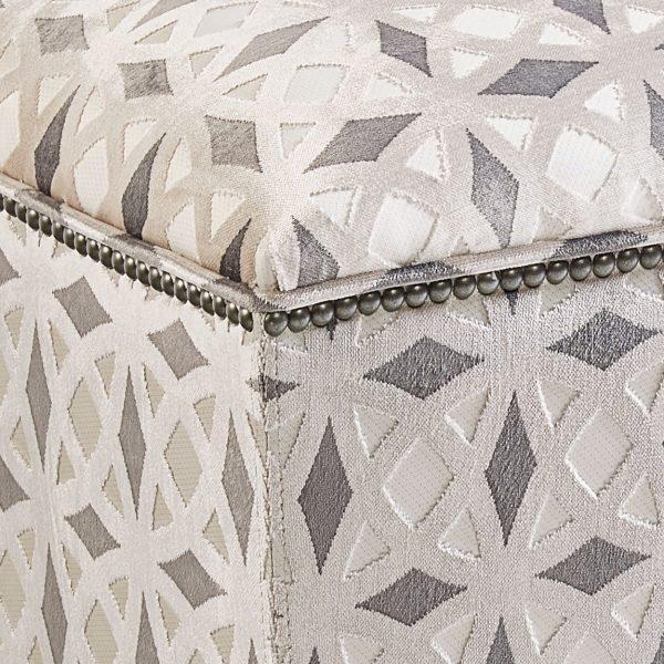 (U-225) Tigris Ottoman | Fabric: (2422-P) Kraus - Platinum | Nails: Midland
