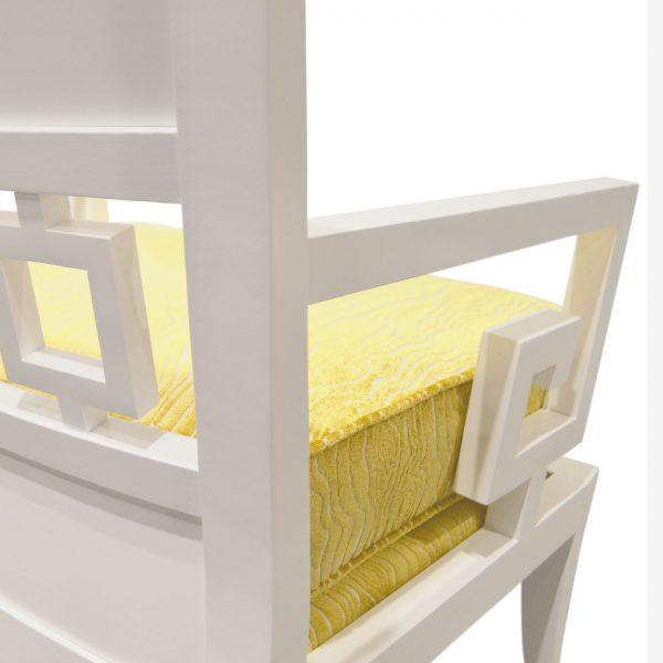 (U-226) Zemira Chair   Fabric: (2759-C) Rivers - Citron   Finish: Wood - Porcelain