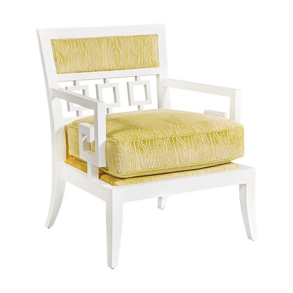 (U-226) Zemira Chair | Fabric: (2759-C) Rivers - Citron | Finish: Wood - Porcelain