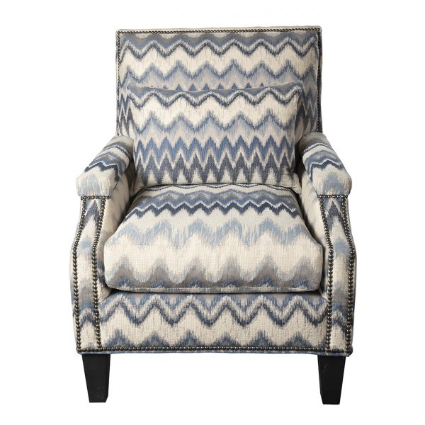 (U-229) Micah Chair | Fabric: (3119) Zippity | Finish: Wood - Heron | Nails: Tyler