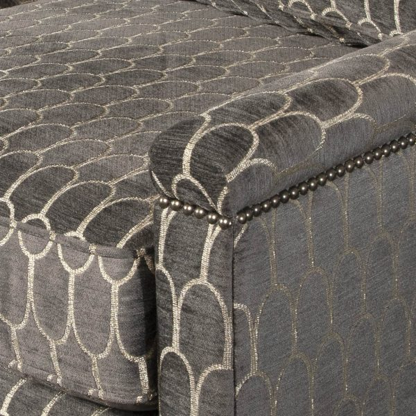 (U-230) Tobiah Sofa | Fabric: (3136-G) Crisanta - Graphite | Finish: Wood - Champagne | Nails: Tyler