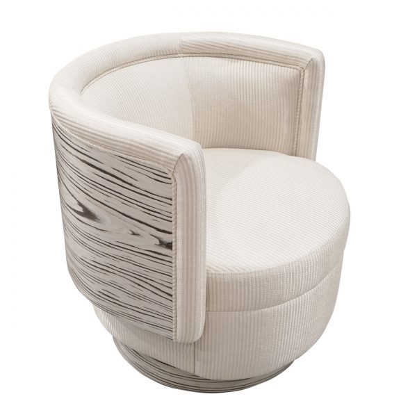 (U-236) Arya Swivel Chair | Fabric: (3191-C) Primo - Cream | Finish: Laminate - Spalted Maple