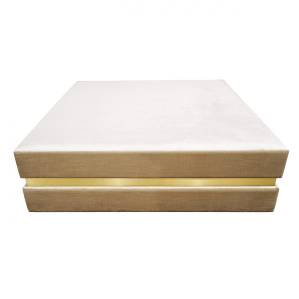 (U-237) Scarlatti Sofa Table | Fabric: Velutto - Flaxen | Finish: Laminate - 704 Brushed Light Brass