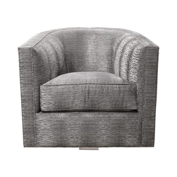 (U-238) Giana Swivel Chair   Fabric: (3273) Majestic   Finish: Laminate – Aluminum