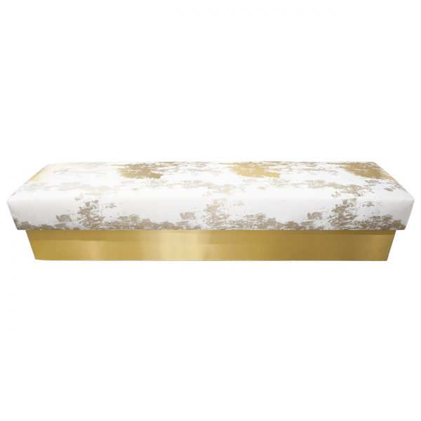 (U-239) Preen Bench | Fabric: (3226-G) Roxy – Gold | Finish: Laminate – 704 Brushed Light Brass