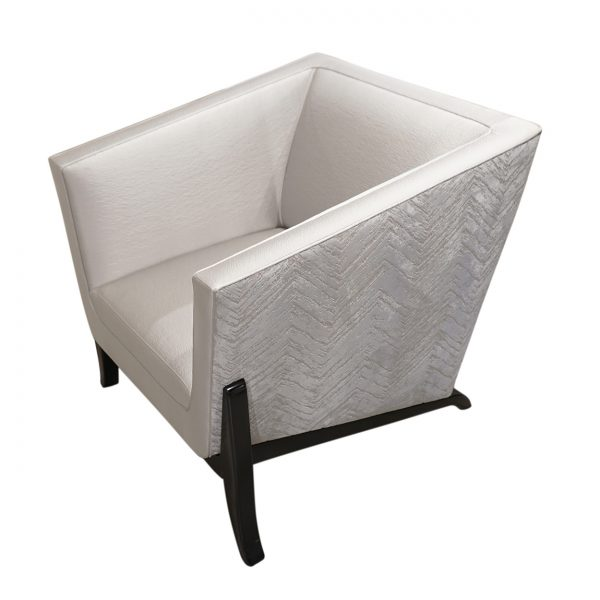 (U-242) Mosaic Chair | Outside: (3276-S) Zermatt – Silver | Inside: (3267-S) Acclaim – Silver | Finish: Wood - Espresso