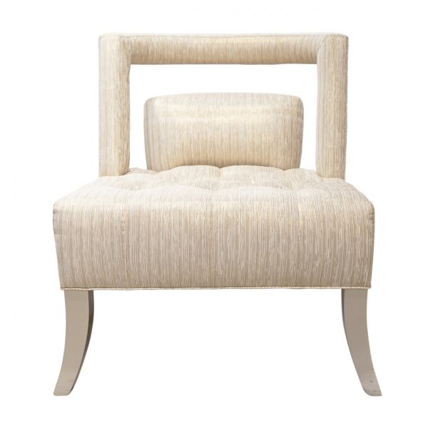 (U-244) Versailles Chair | Fabric: (3317-B) LED Bronze | Finish: Wood – Champagne Metallic