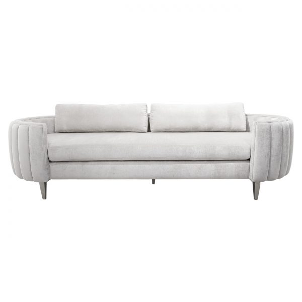 (U-245) Ciello Sofa | Fabric: (3245-F) Lustrious – Fog | Finish: Wood – Champagne Metallic