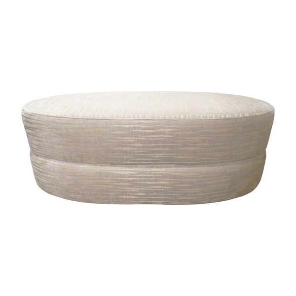 (U-246) Luna Ottoman | Fabric: (3047-F) Davos - Fog | Finish: Wood - Slate