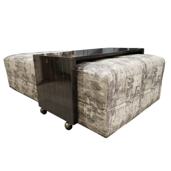 (U-248) Caspian Ottoman | Fabric: (2906-P) Bridger - Pewter | Finish: Laminate - Madagascar Black & Grey