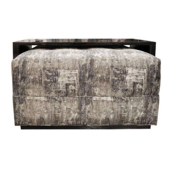 (U-248) Caspian Ottoman | Fabric: (2906-P) Bridger - Pewter | Finish: Laminate - Madagascar Black & Grey