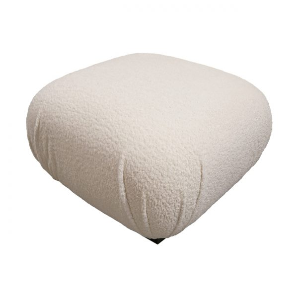 (U-249) Imani Pouf | Fabric: Sheepskin – Natural | Finish: Laminate – Madagascar Black & Grey