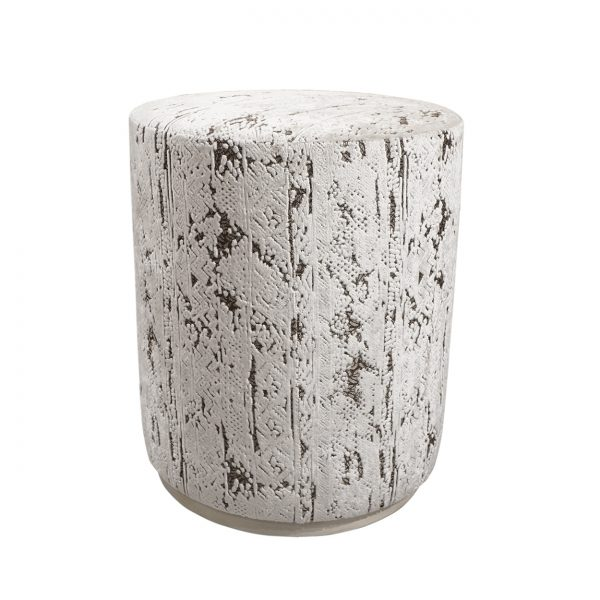 (U-250) Bongo Ottoman | Fabric: (3218-I) Stonewash – Ivory | Finish: Wood – Travertine