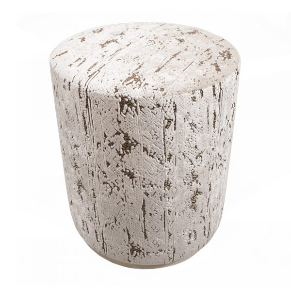 (U-250) Bongo Ottoman | Fabric: (3218-I) Stonewash - Ivory | Finish: Wood - Travertine