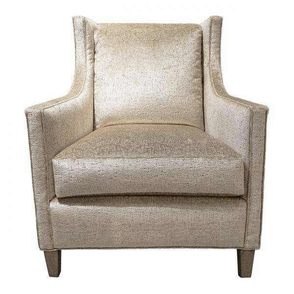 (U-253) Hollis Chair   Fabric: Tiara-Cream (3201-C)   Finish: Wood-Fog