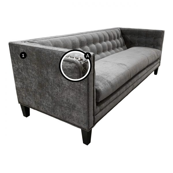 (U-254) Hayden Sofa | Fabric: Lustrious-Fog (3245-S) | Finish: Wood-Tyler | Nails: Tyler