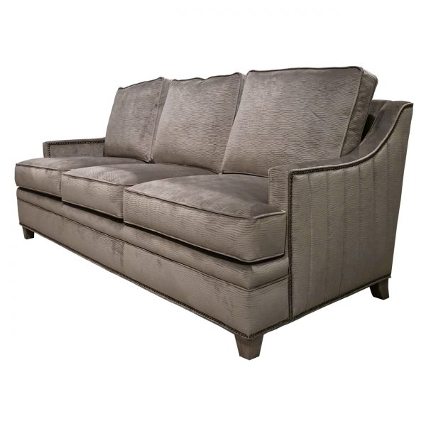 (U-256) Amerie Sofa | Fabric: Stream-Mushroom (3015-M) | Finish: Wood-Fog | Nails: Tyler