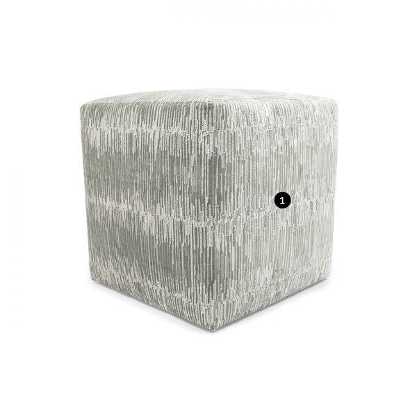 (U-257) Contempo Ottoman | Fabric: Techno-Platinum (2919-P)