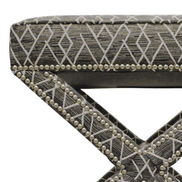 (U-203) Jaffa Ottoman | Fabric: (2811) Ritz | Nails: Houston