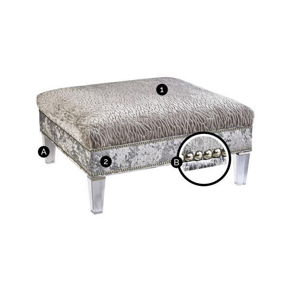 (U-207) Nessa Ottoman-Table | Top: (3053-G) Callard - Grey | Side: (2867-S) Miranda - Silver | Legs: Acrylic | Nails: Houston