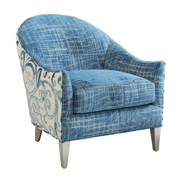 (U-214) Sophie Chair | Inside: (3009-P) Studio - Peacock | Outside: (2742-L) Jubilee - Laguna | Finish: Wood - Platinum
