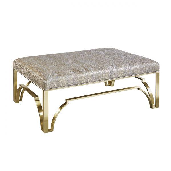 (U-217) Elliana Ottoman-Table | Fabric: (3002) Sun Gleam | Finish: Metal - Matte Gold