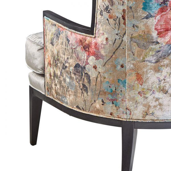 (U-224) Elizabeth Chair   Inside: Velutto - Sterling   Outside: (2997-RG) Dazzling - Rose Gold   Finish: Wood - Heron